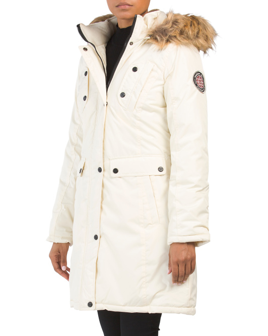 Juniors Parka With Faux Fur Hood