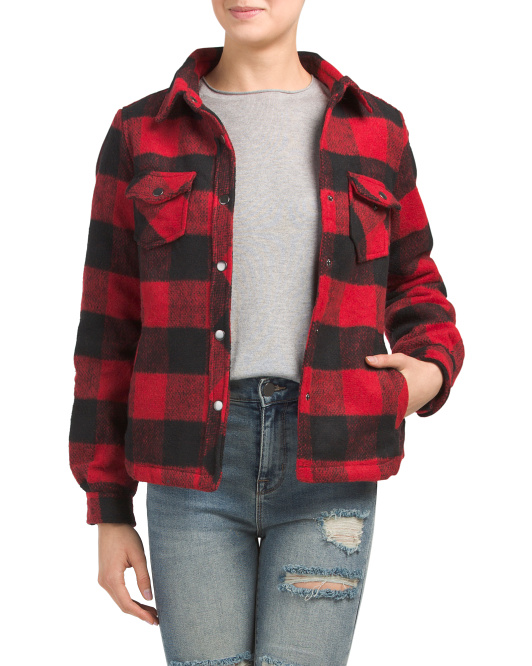 Juniors Sherpa Lined Buffalo Plaid Overshirt