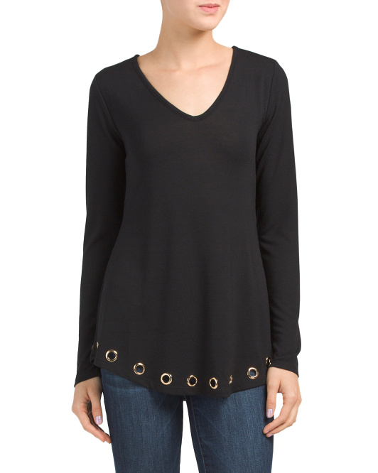 Long Sleeve V-neck Top With Eyelets
