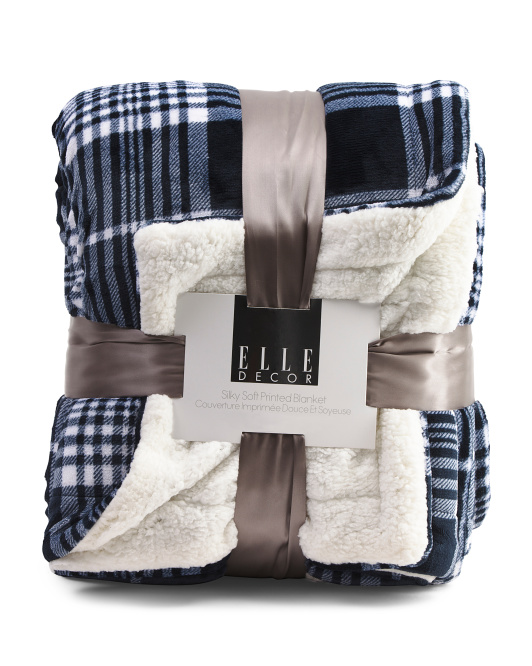 Plaid Sherpa Reversible Blanket