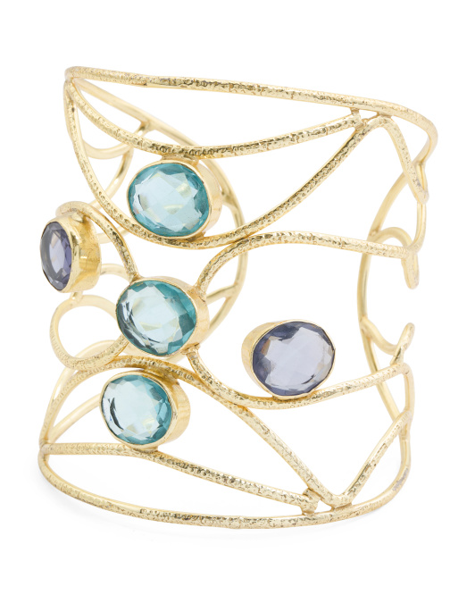 Handcrafted In India Blue Topaz And Iolite Cuff Bracelet