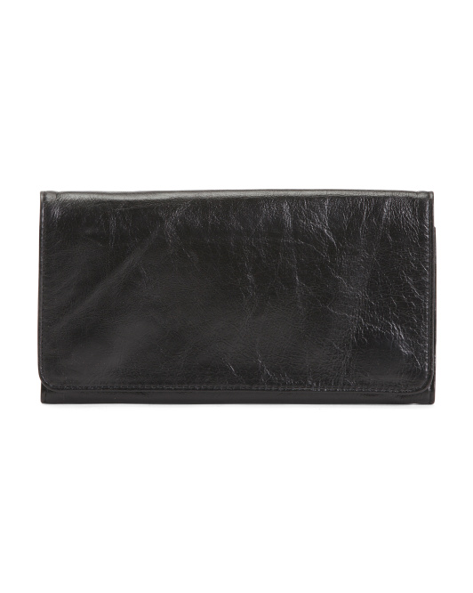 Large Leather Clutch Wallet