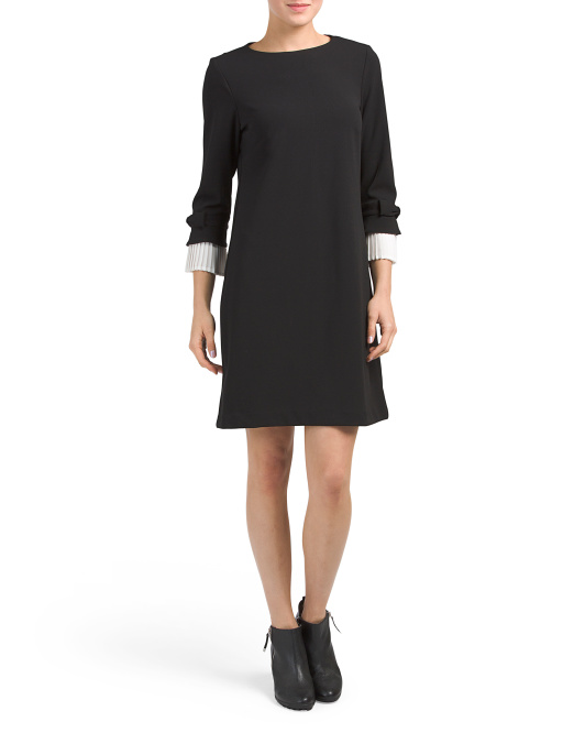 Pleated Bow Sleeve Crepe Dress