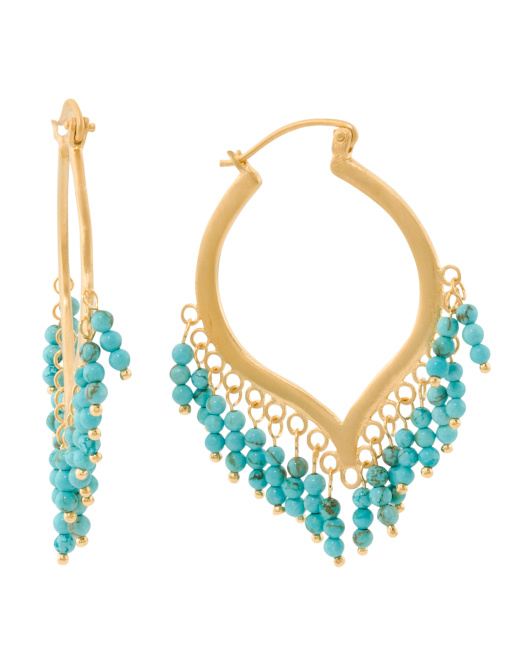 Handmade In Thailand Turquoise Chandelier Earrings