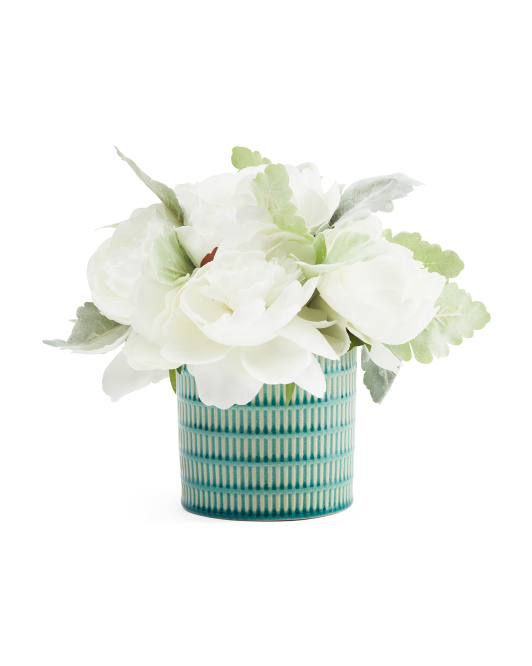 10in Faux Peonies In Woven Ceramic Pot