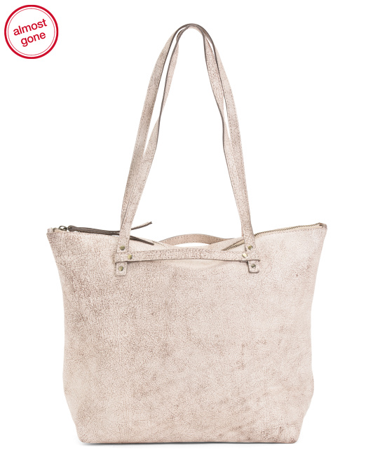 Strap Front Leather Tote