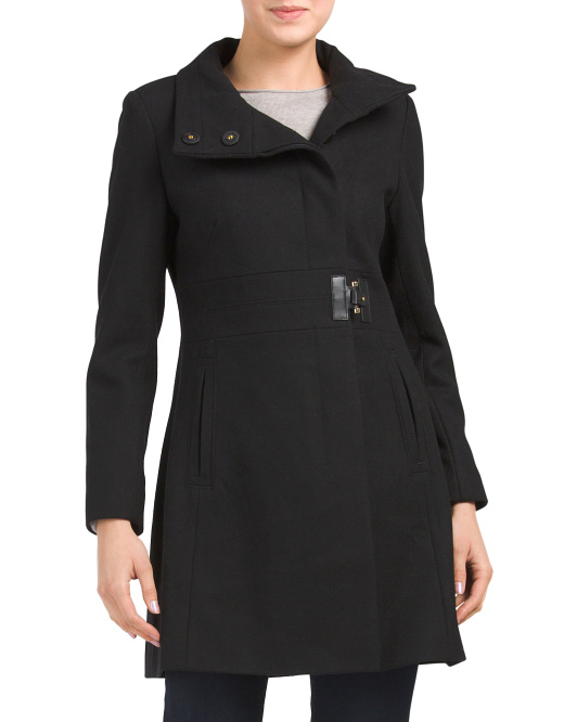 Petite Wool Side Tab Coat