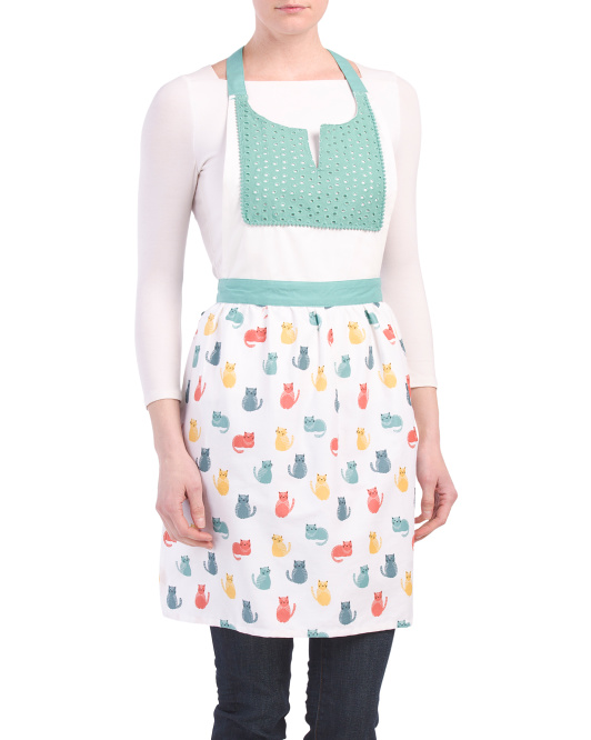 Made In India Multi Cat Print Apron
