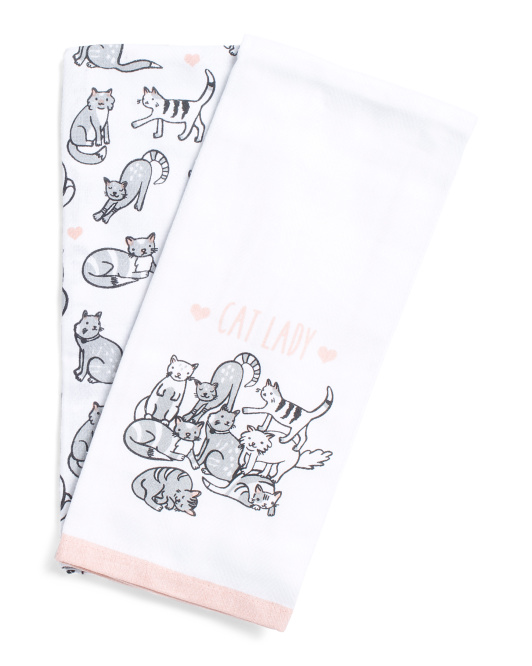Made In India 2pk Cat Lady Kitchen Towels