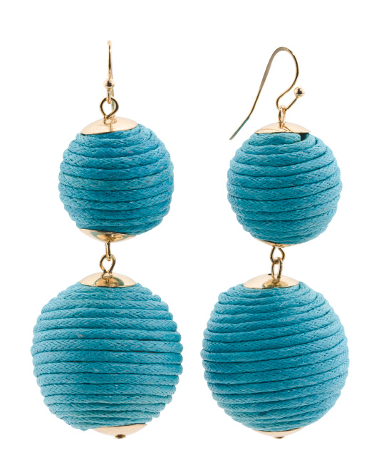 Handmade Thread Wrapped 2 Tier Ball Earrings