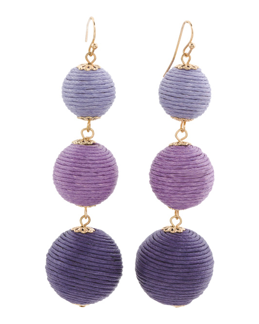Handmade Thread Wrapped 3 Tier Ombre Ball Earrings
