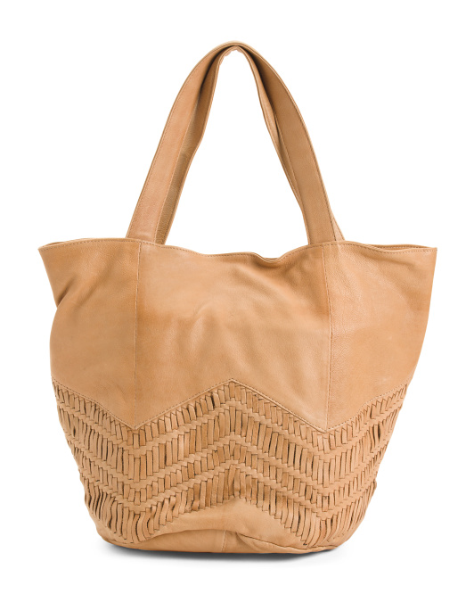 Leather Peony Tote