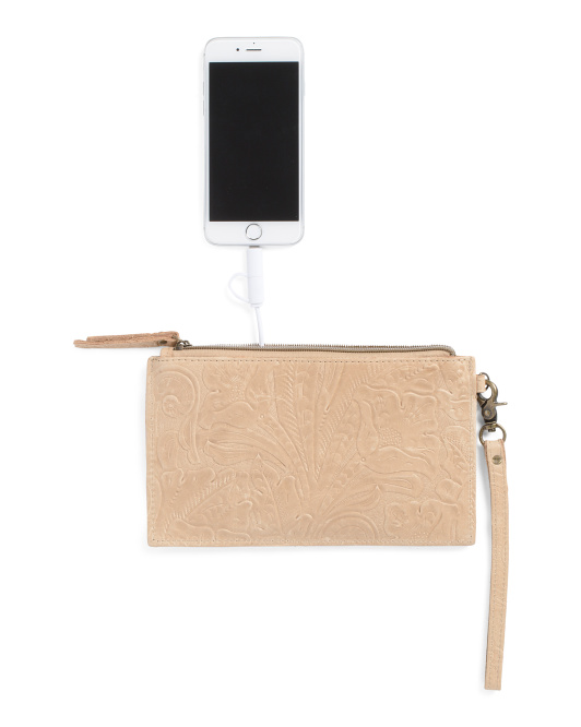 Leather Tooled Charging Pouch