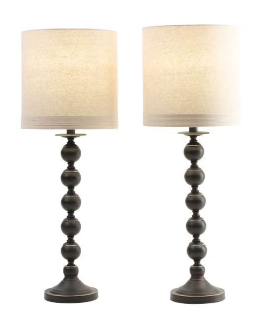 Set Of 2 Stacked Orb Metal Lamps