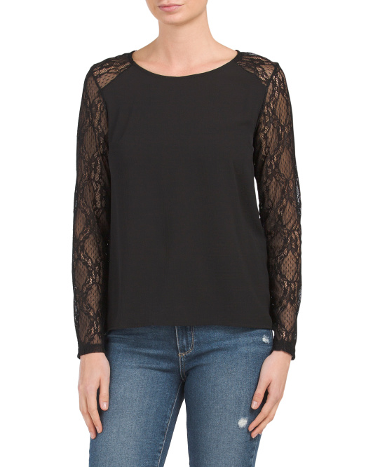Made In Italy Lace Sleeve Blouse