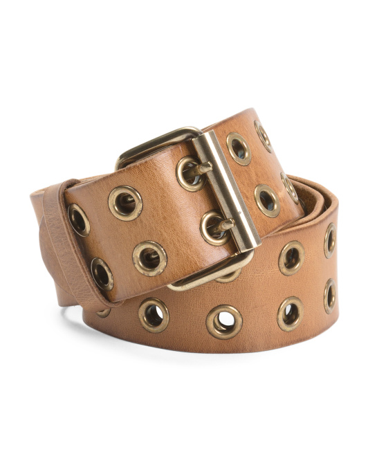 Made In Italy Leather Double Belt