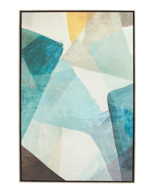 24x36 Geometric Blues Framed Canvas