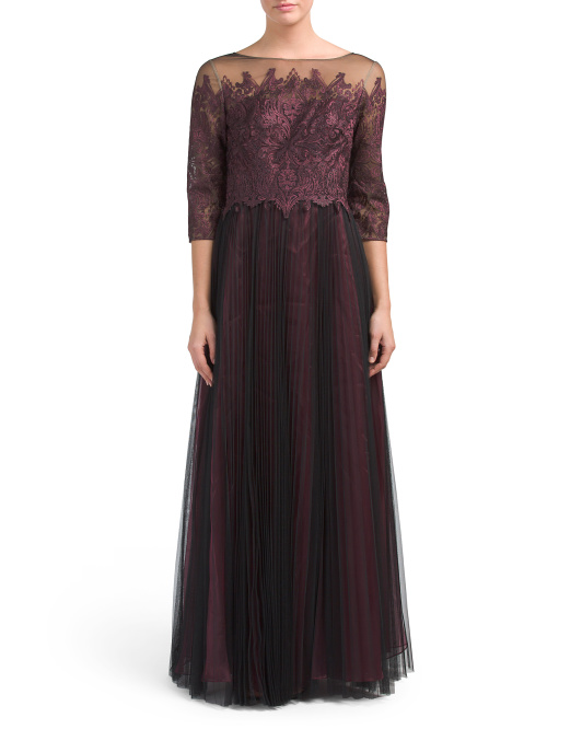 Illusion Neck Lace Gown