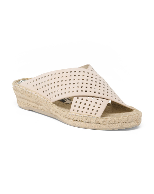 Perforated Leather Espadrille Sandals