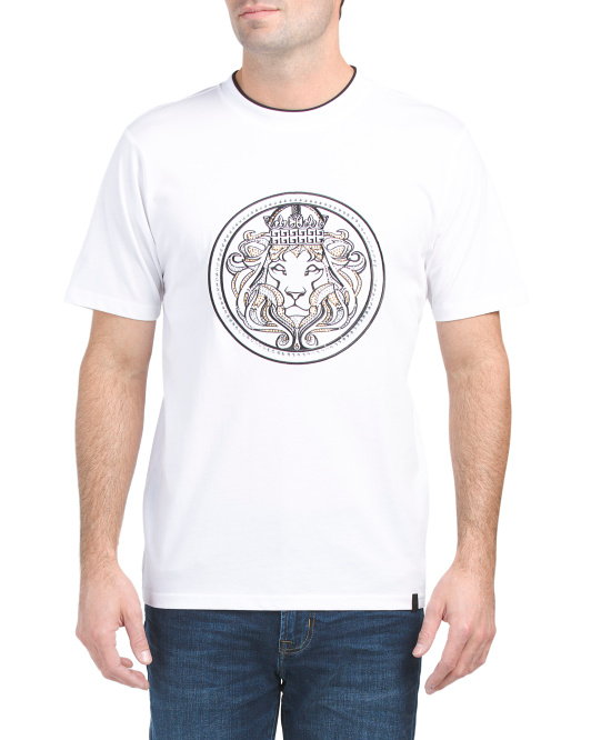 Crew Neck Crystal Lion Tee