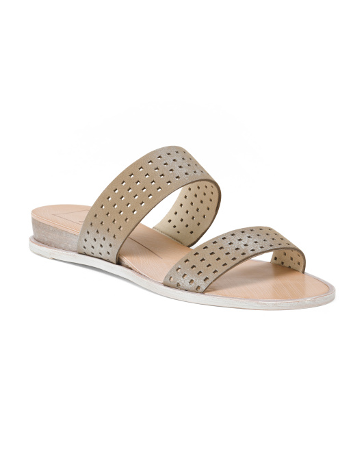 Double Band Perforated Leather Sandals