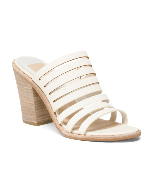 Stacked Heel Strappy Leather Sandals
