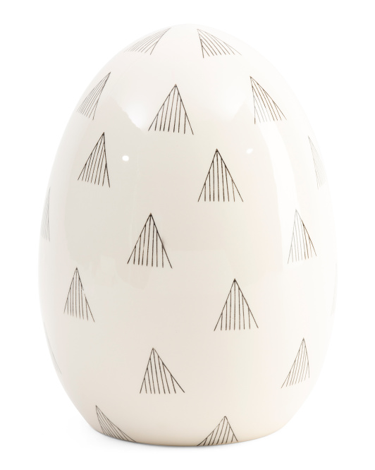 12in Patterned Ceramic Egg Decor
