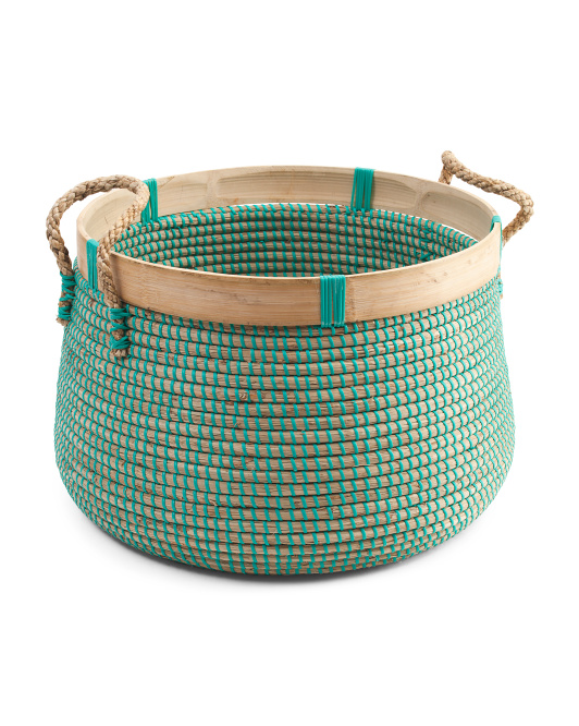 Large Round Storage Basket With Bamboo Detail