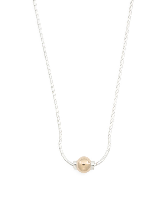 Sterling Silver And 14k Gold Ball Necklace