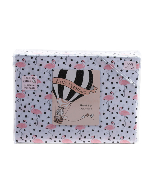 Kids Flamingo Dot Sheet Set