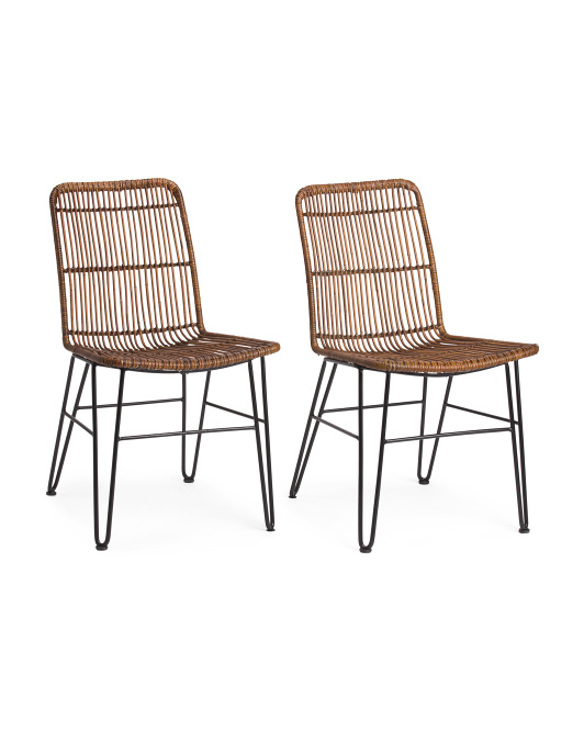 Set Of 2 Rattan And Iron Chairs