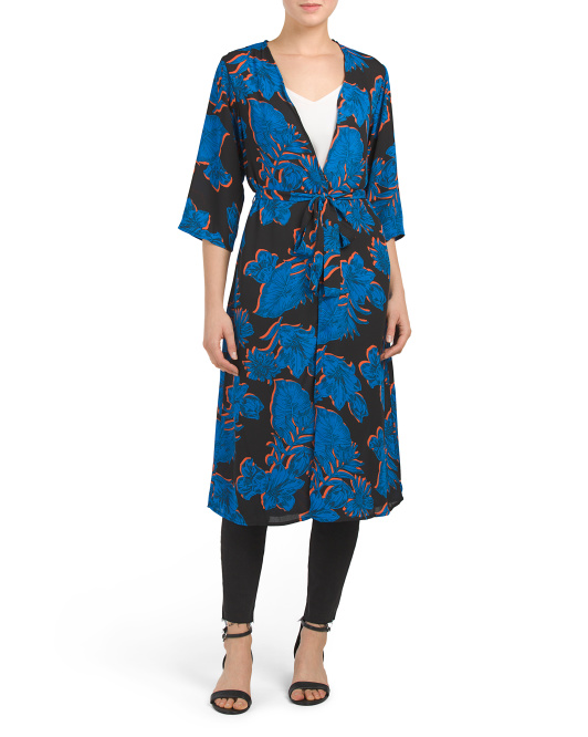 Juniors Printed Long Kimono Top