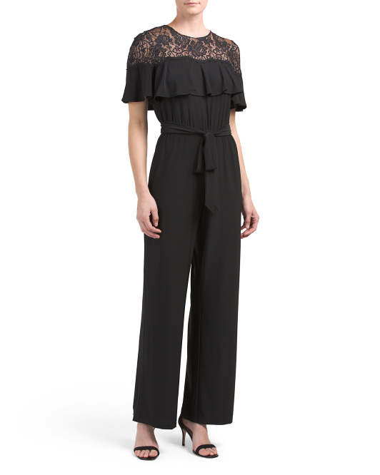 Lace Top Jumpsuit With Ruffle