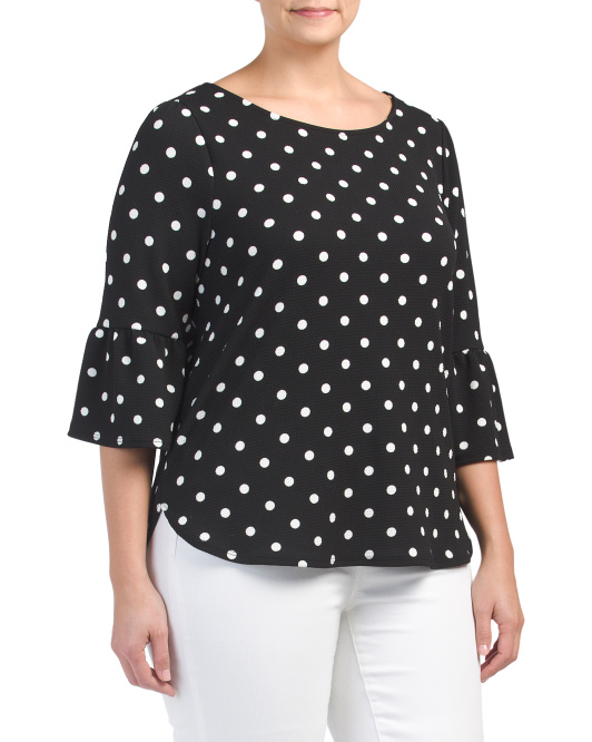 Plus Polka Dot Crepe Top