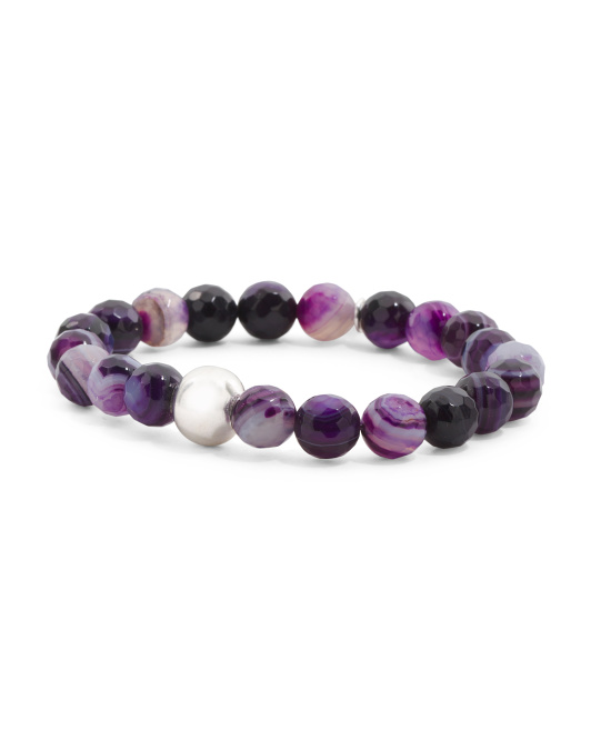 Made In Canada Amethyst Agate Silver Bead Stretch Bracelet
