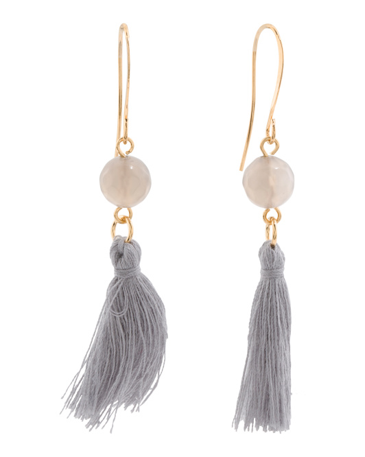Made In Canada Grey Agate And Cotton Tassel Earrings