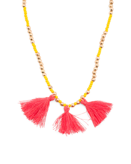 Made In Canada Preciosa Crystal And Cotton Tassel Necklace