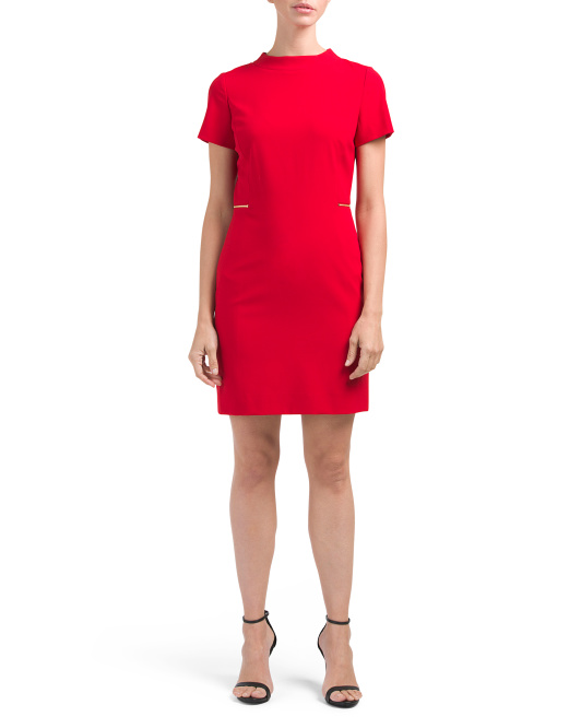Petite Short Sleeve Mock Neck Dress