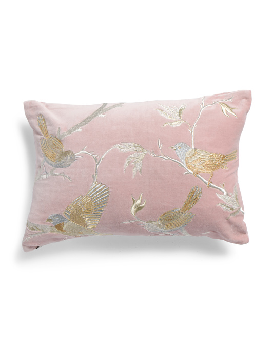 Made In India 14x20 Velvet Bird Pillow