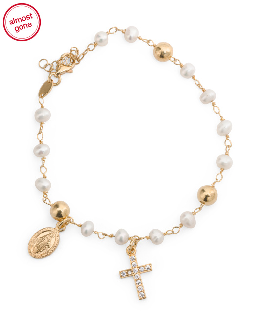 Made In Italy Gold Plated Sterling Silver Rosary Bracelet