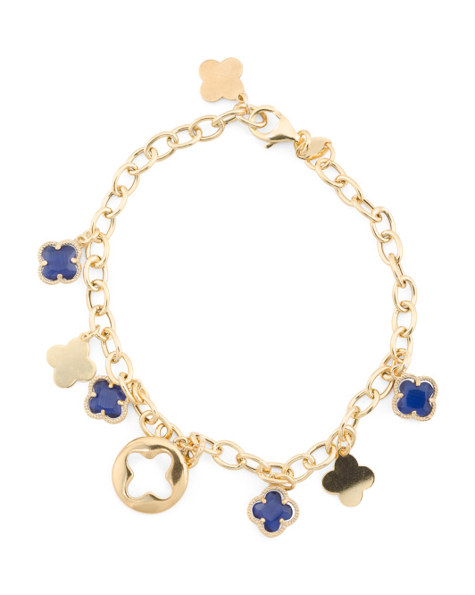 Made In Italy Gold Plated Sterling Silver Quatrefoil Charm Bracelet