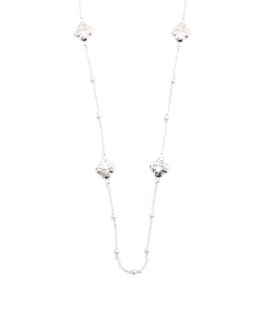 Made In Italy Sterling Silver Quatrefoil Pearl Necklace