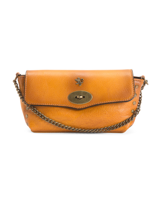 Made In Italy Leather Flap-over Crossbody