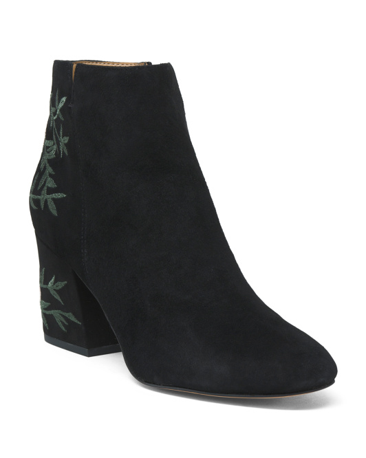 Brocade Suede Booties