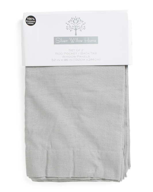 Set Of 2 52x96 Linen Blackout Curtains