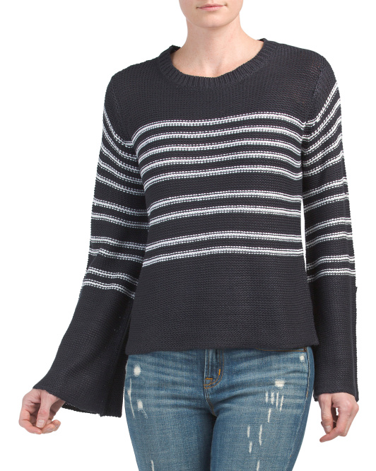 Juniors Pullover Striped Sweater