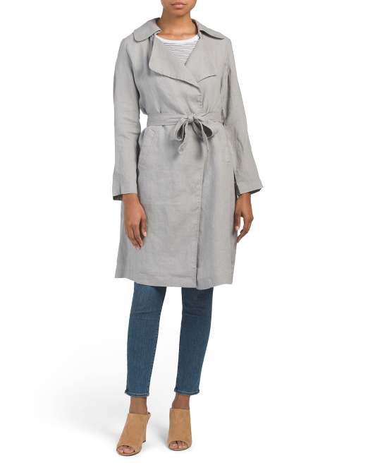 Long Linen Belted Trench Coat