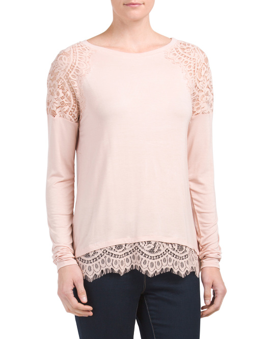 Long Sleeve Top With Lace Trim