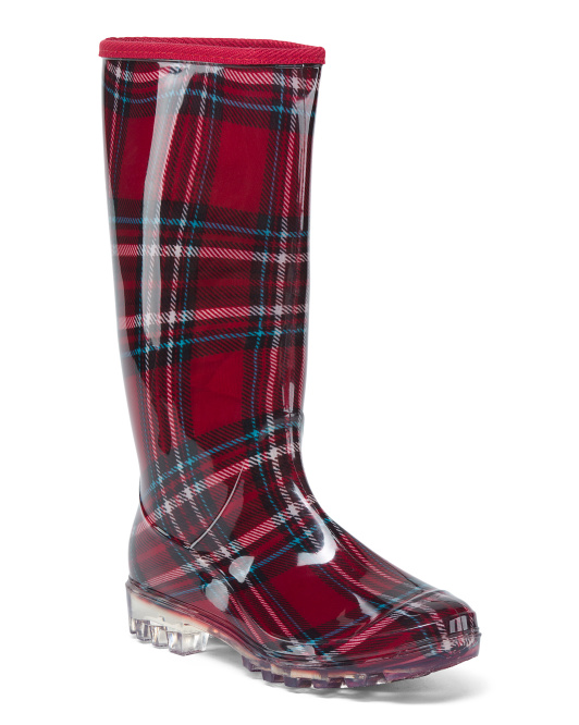Plaid High Shaft Rain Boots