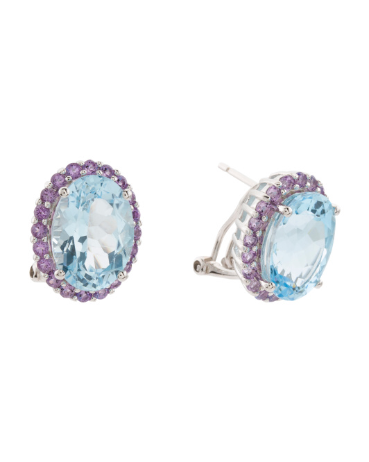 Sterling Silver Blue Topaz And Amethyst Earrings